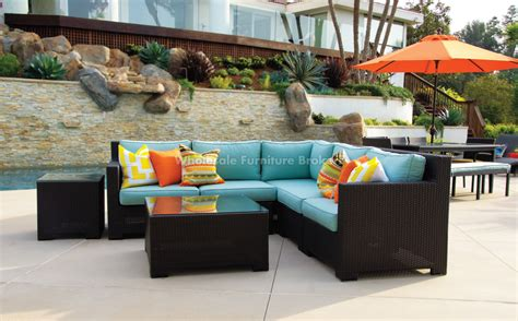 sectional patio furniture sale sale valencia corner outdoor wicker sectional sofa by patio republic large patio sets patio