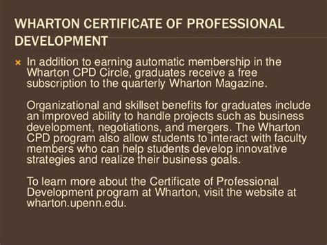 Benefits Of A Wharton Mba by Benefits Of The Wharton Certificate Of Professional