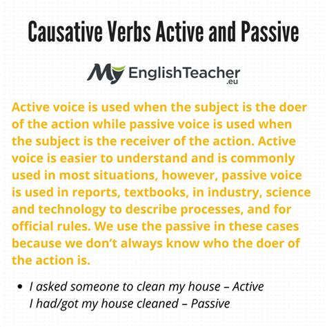 verb pattern in active and passive sentences causative verbs active and passive causative verbs