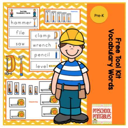 printable card kits free tool kit vocabulary word cards preschool printables