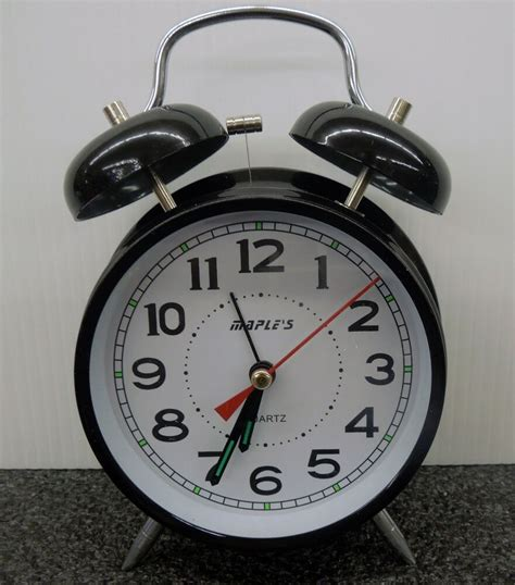 quot maples quot bell alarm clock black ebay