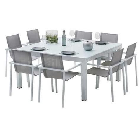 fly table de jardin ensemble table et chaises de jardin extensibles carre whitestar 8 places achat vente salon