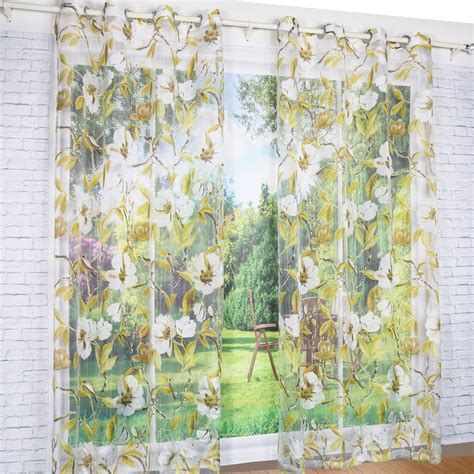 Yellow Floral Curtains Window Curtain Yellow Floral Burnout Transparent Sheer For Home Living Room Screening Voile