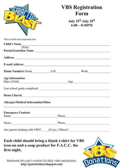 registration form template shake it up cafe vbs registration form