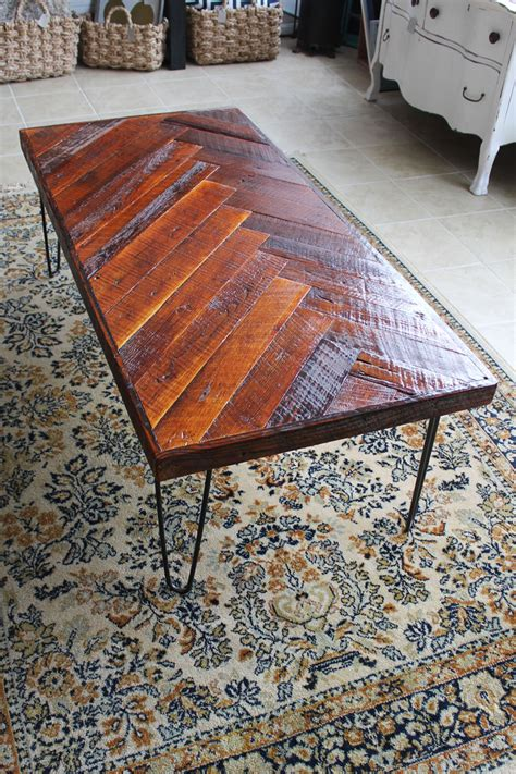 diy wood coffee table legs remodelaholic diy wood herringbone coffee table with hairpin legs
