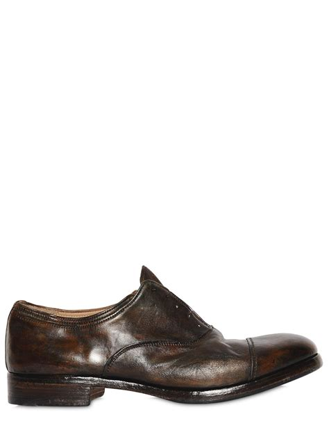 laceless oxford shoes premiata washed leather oxford laceless shoes in brown for
