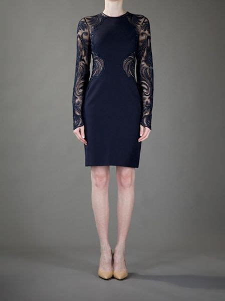 Stella Navy Bluse stella mccartney lace panel dress in blue navy lyst