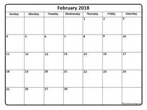 Calendar 2018 Printable Template February 2018 Calendar Printable Yearly Template