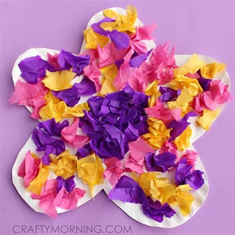 Crafts To Make With Tissue Paper - make a paper plate flower craft using tissue paper with