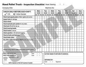 Truck Checklist Template by Daily Inspection Checklist For Pallet Trucks