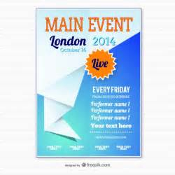Poster Template Free by Origami Event Poster Template Vector Free