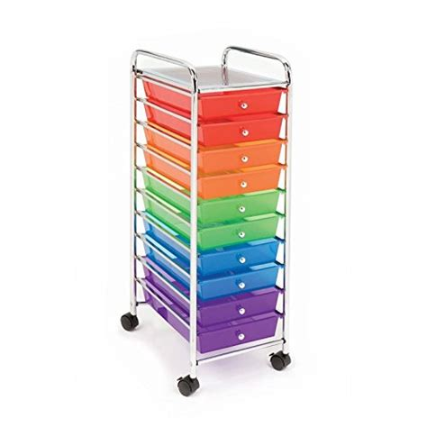 seville classics 10 drawer organizer cart multi color on