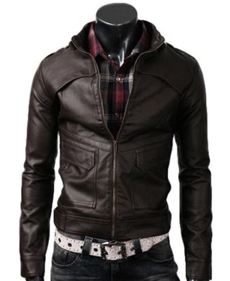 Brown Jacket s slim fit brown stand collar leather jacket