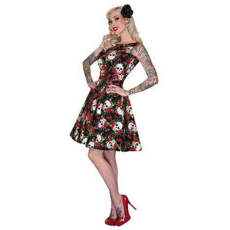 skull swing dress voodoo vixen new rose skull rockabilly kitsch 50s party
