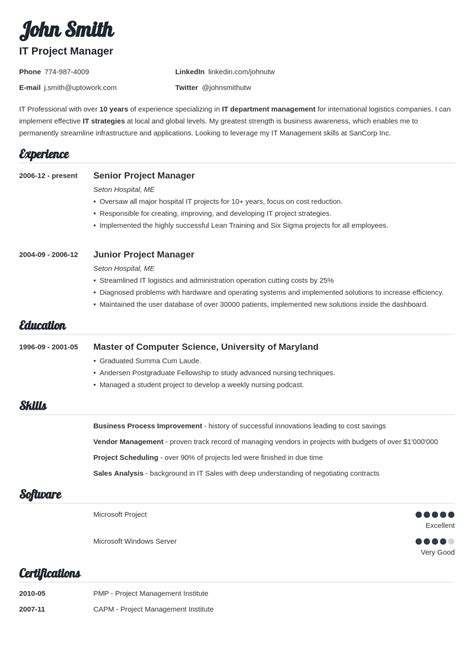 It Resume Template by Professional Resume Template Outathyme