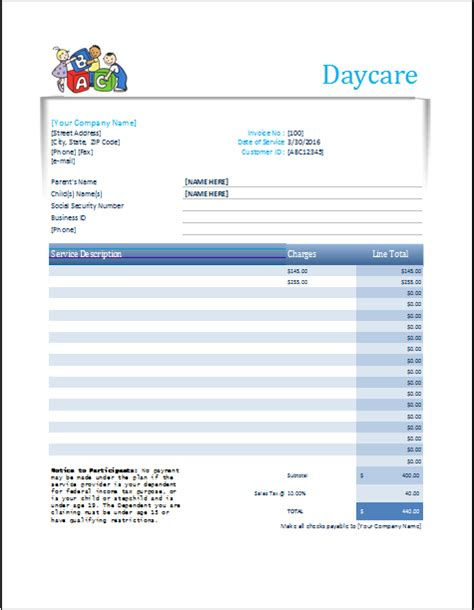 daycare invoice template daycare receipt excel template word excel templates