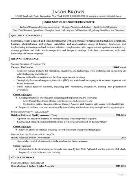 Resume Junior Software Engineer Engineering Resume Exles Resume Professional Writers