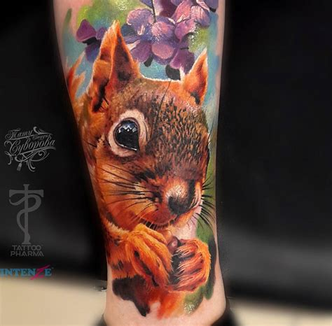 squirrel tattoos squirrel realistic calf best design