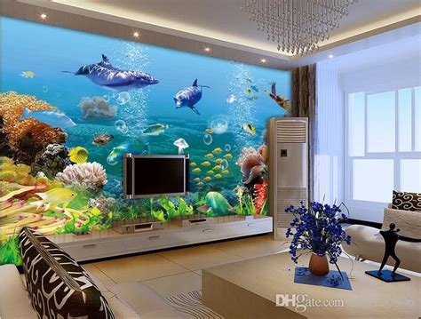 room wallpaper custom photo mural dolphin fish coral