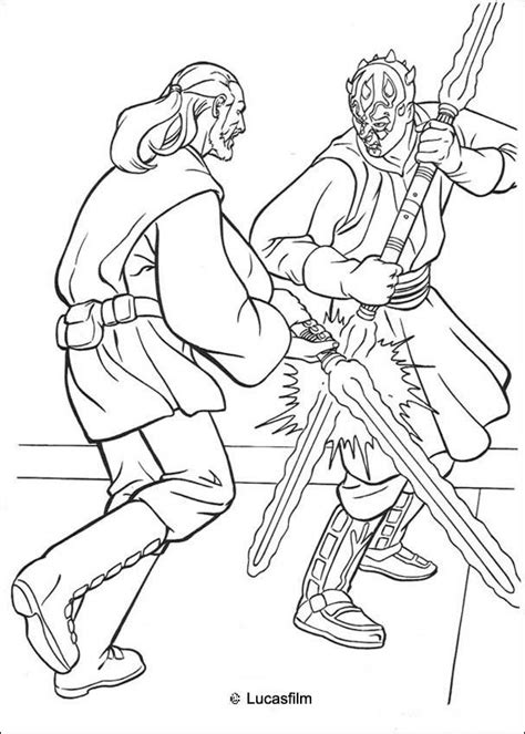 lego wars darth maul coloring pages jedi qui gon jinn fighting a duel with darth maul