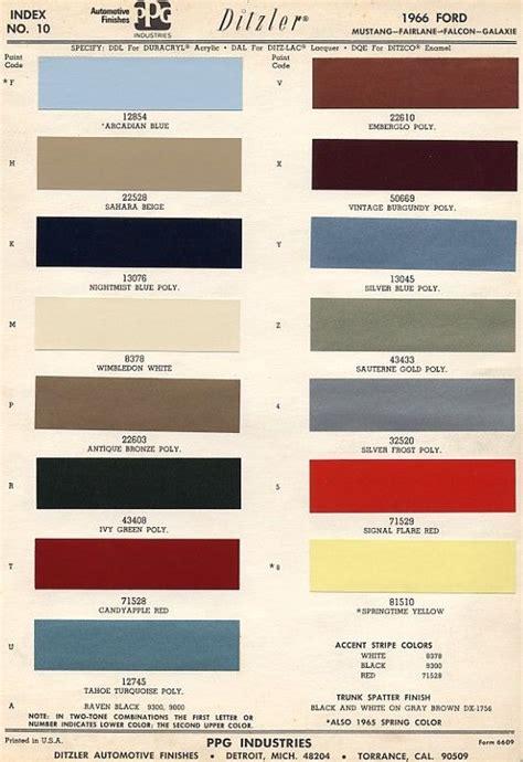 original colors of mustang 66 mustang