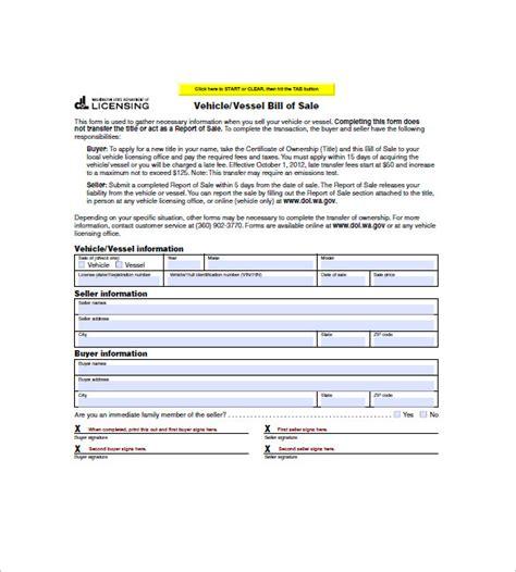 washington state vehicle bill of sale printable watercraft bill of sale 8 free sle exle format