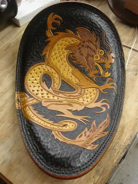 handtooled tooled leather seat for chopper motorcycle