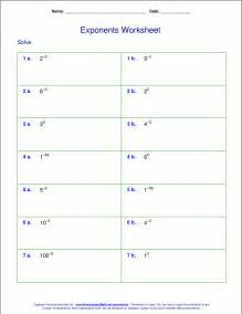 worksheets for negative and zero exponents