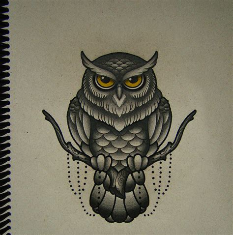 new school owl tattoo new school yellow eyed owl sitting on tree branch