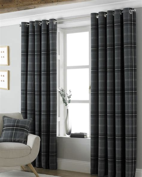 grey and white check curtains tartan check woven wool look grey lined ring top curtains
