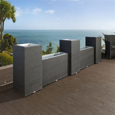 Black Rattan Planters by Luxury Outdoor Garden Wall Set Of 5 Black Rattan