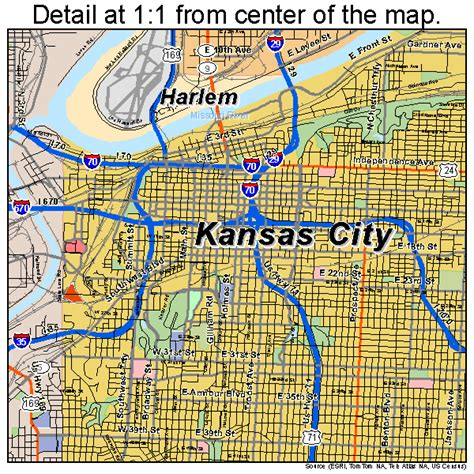 Apartment Map Kansas City Kansas City Missouri Road Map Mo Atlas Poster Ebay
