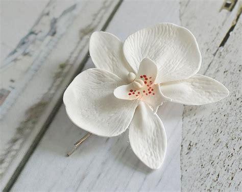white orchid clip flower hair pin flower hair white orchid clip flower hair pin flower hair clip white hair clip wedding hair