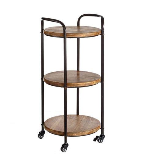 etagere noir et bois 201 tag 232 re ronde sur roulettes desserte en m 233 tal noir et bois