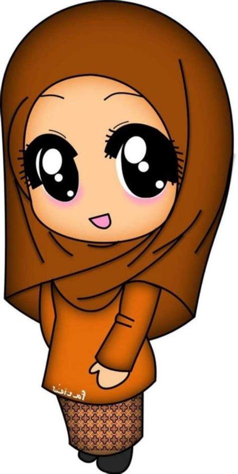 gambar kartun muslimah berhijab lucu  menggemaskan