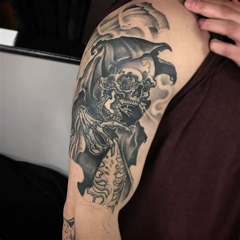 badass shoulder tattoos 45 grim reaper design ideas with meaning