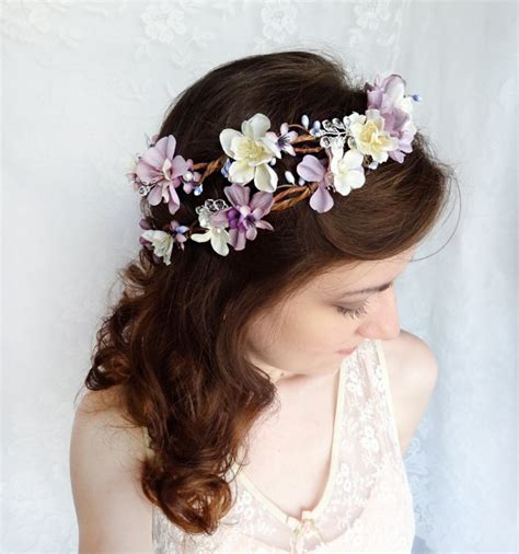 Wedding Hair Wreath Of Flowers by Lavender Flower Hair Wreath Purple Wedding Headpiece Bridal