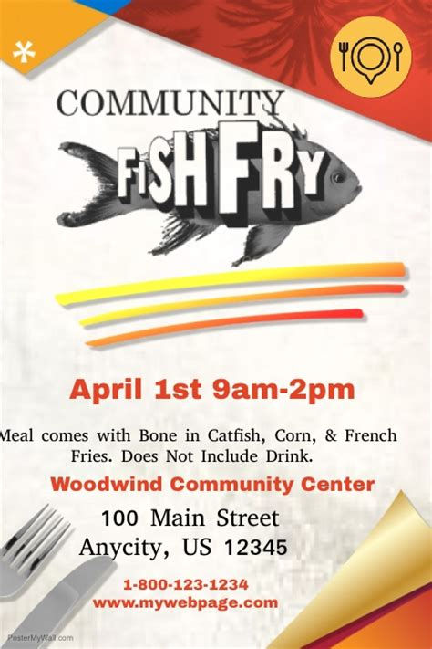 Community Fish Fry Template Postermywall Fish Fry Menu Template