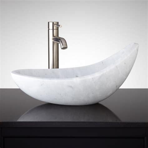 Modern Bathroom Vessel Sinks by Asymmetrical Carrara Marble Vessel Sink Bathroom