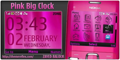nokia x2 02 themes rose pink big digital clock nokia c3 x2 01 theme themereflex