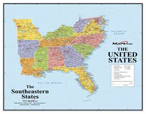 map of south eastern united states southeast usa wall map maps
