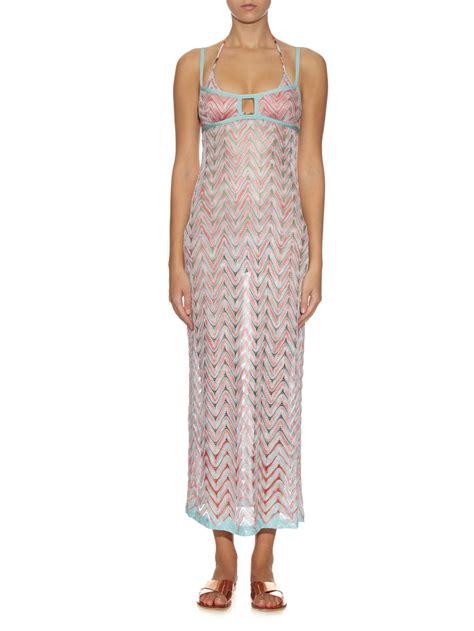 knitted maxi dress uk missoni chevron knit maxi dress in pink lyst