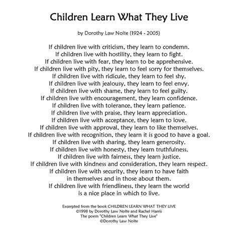 parenting children learn how to be a loving and effective parent books children learn what they live this poem hung on my wall