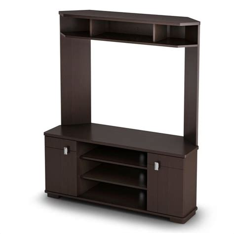 Tv Hutches south shore vertex corner tv stand with hutch in chocolate