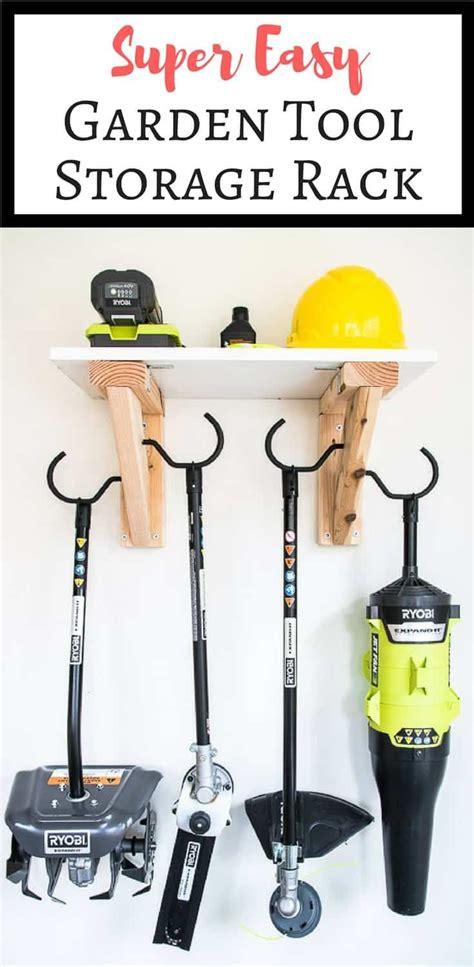 easy diy garden tool rack tool storage diy power tool