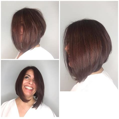 bobs with body women s brunette shoulder length angled bob with blow out