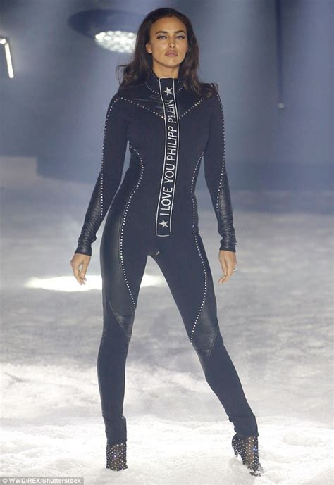 Irina Omiles irina shayk dons skintight bodysuit at philipp plein nyfw