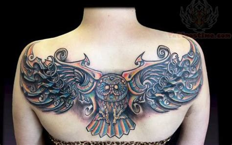 owl tattoo upper back owl tattoo on upperback