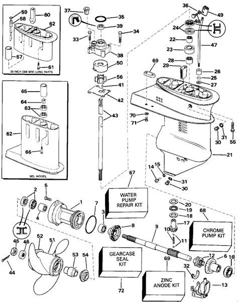 15 hp evinrude parts diagram evinrude gearcase parts for 1992 15hp e15renm outboard motor