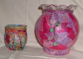 Tissue Paper Decoupage On Glass - crafting so easy decoupage candle holders